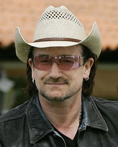 Bono, hat, glasses