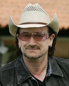 Bono, hat, glasses
